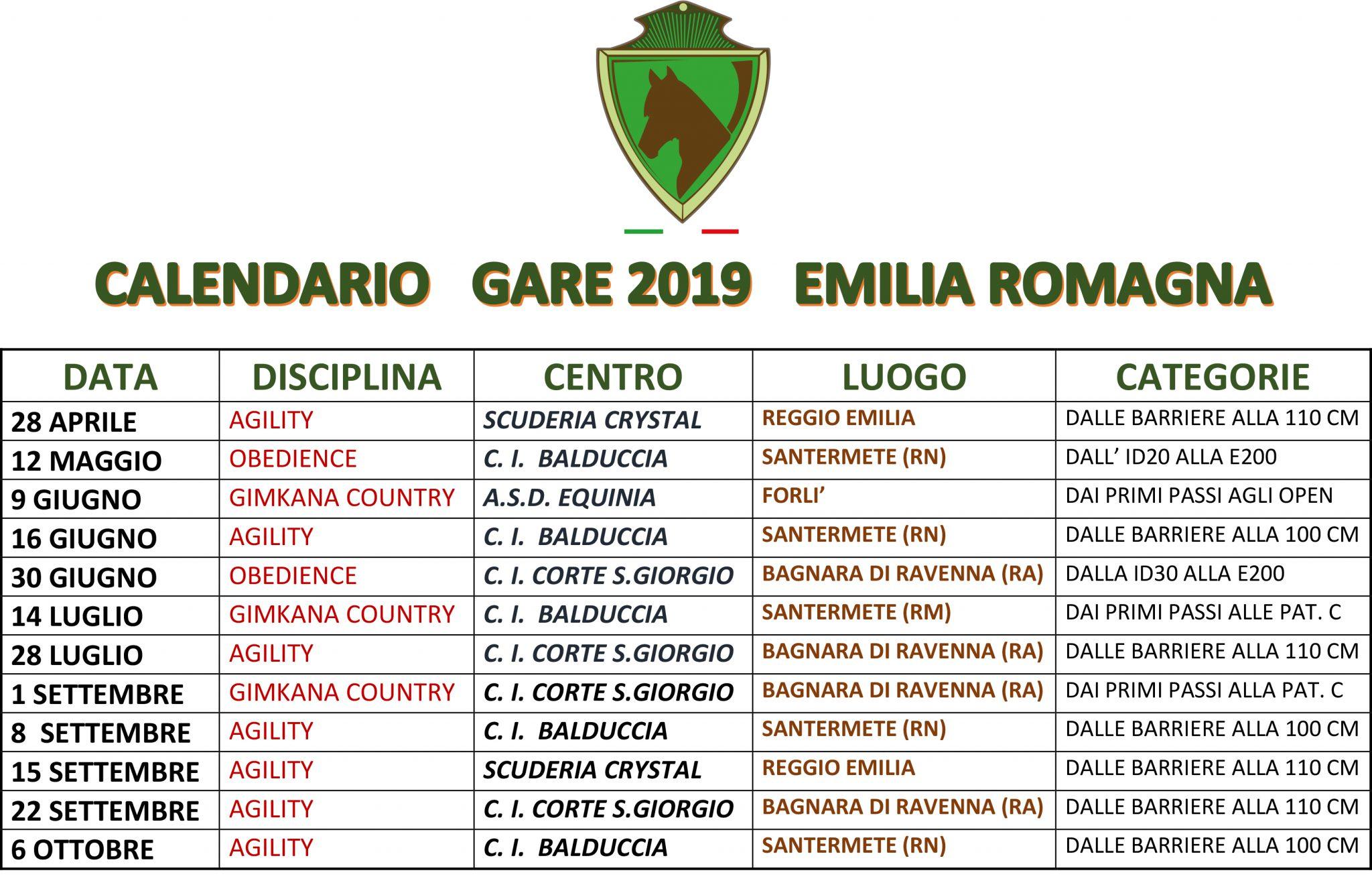 Calendario Regionale Salto Ostacoli.Calendario Gare 2019 Emilia Romagna Sef Italia